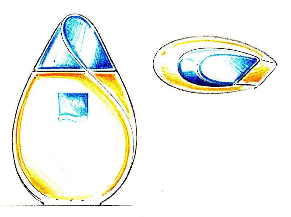 Packagingdesign Badeöl Nivea Skizze