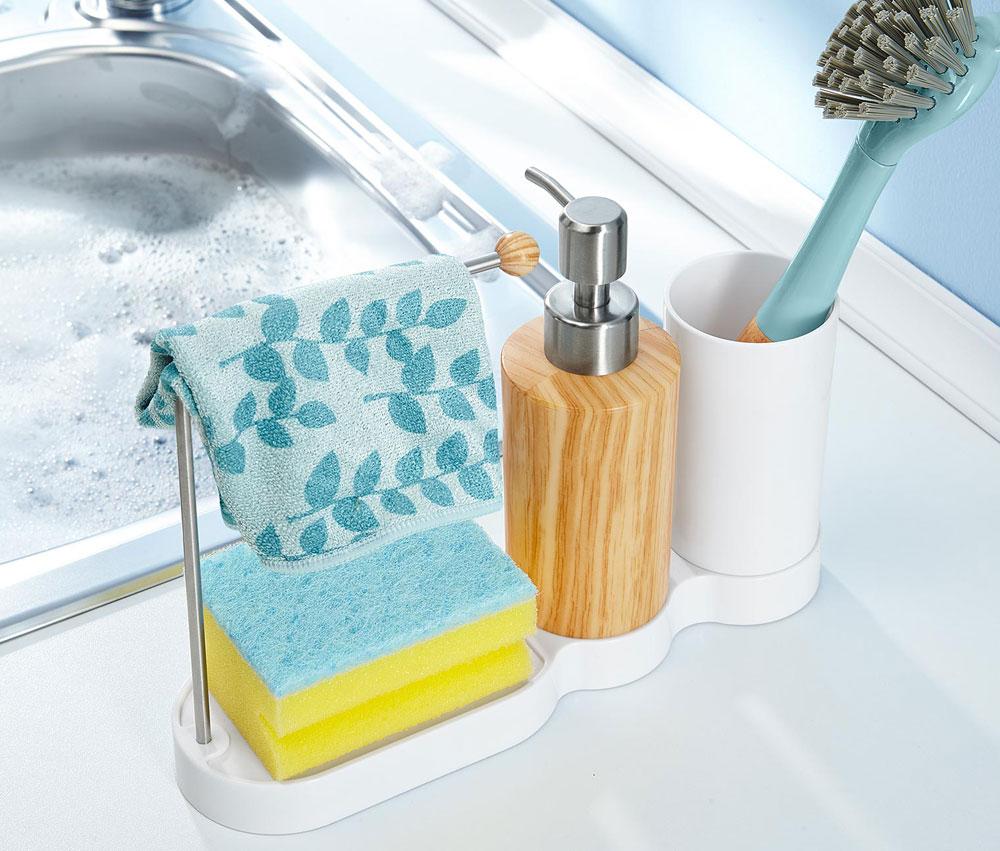 Produktdesign Reinigungsbürsten, Spülbürste mit Behälter, Schwammstation und Spülmittelspender