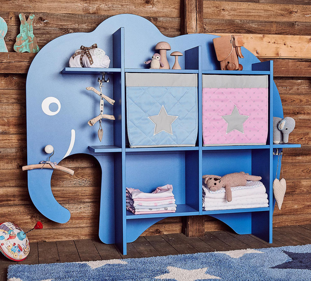 Möbeldesign Regal Elefant dekoriert