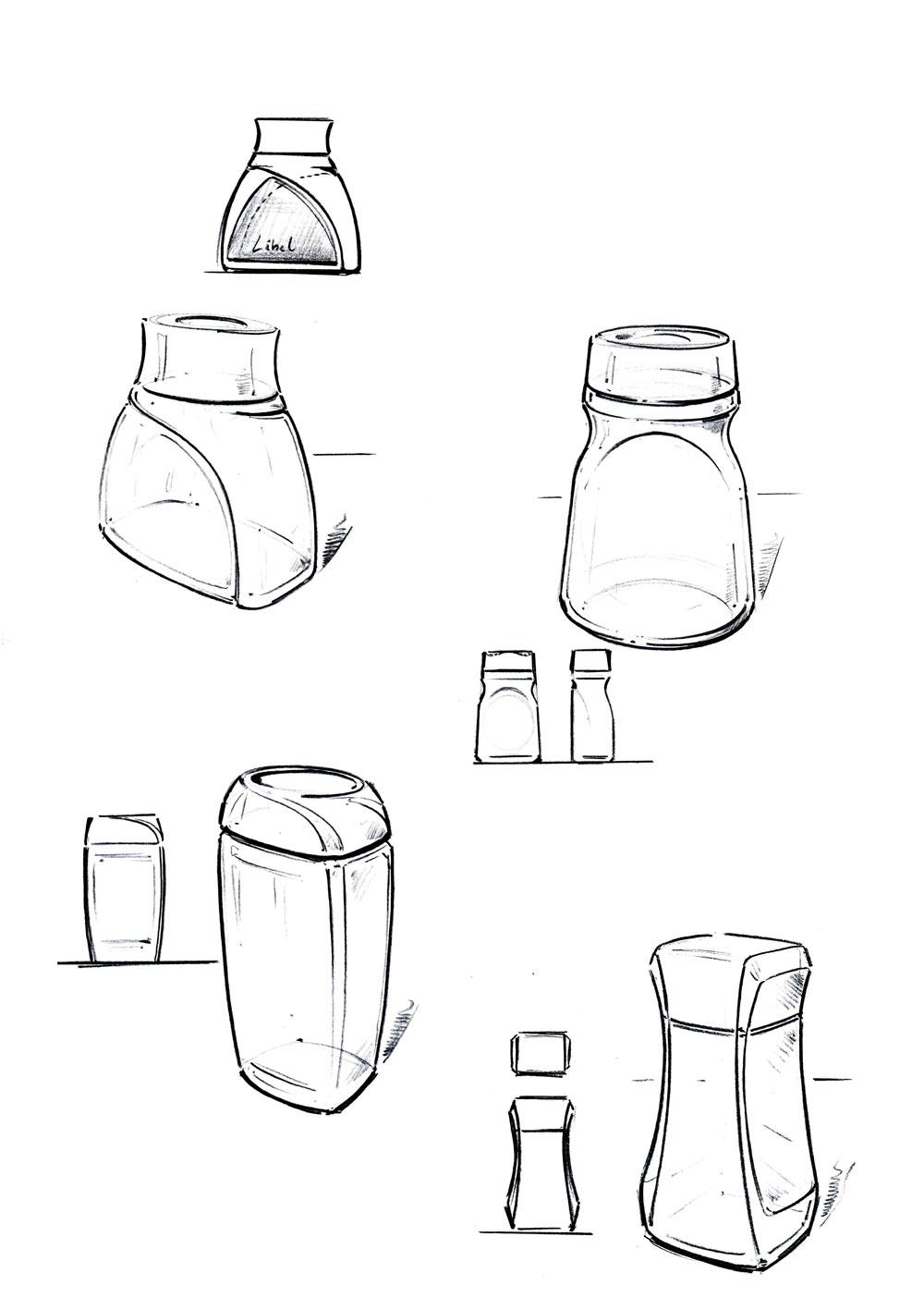 Verpackungsdesign Kaffeeglas Skizzen