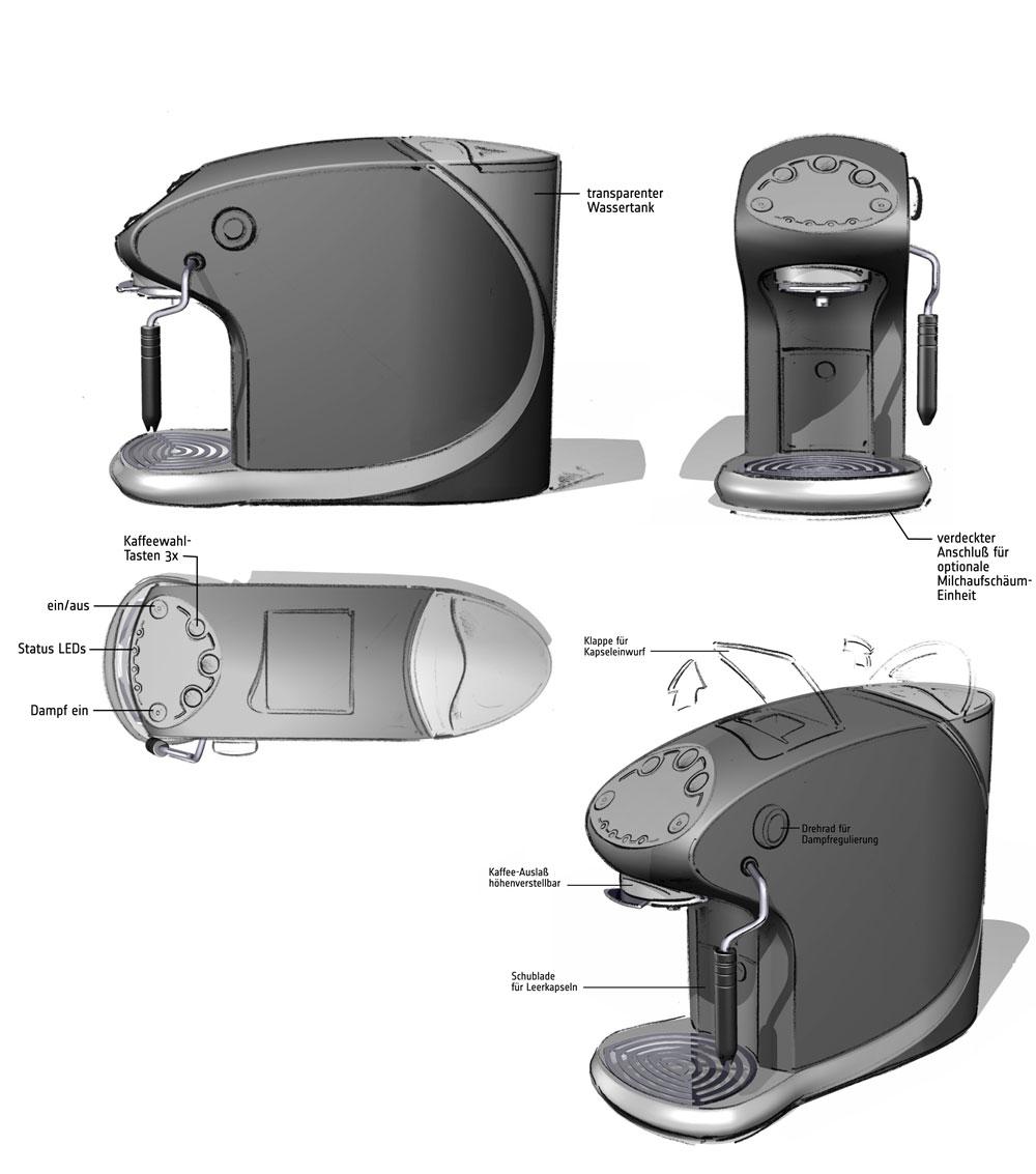 Designstudie SEVERIN Kaffeemaschine / Konzept 2