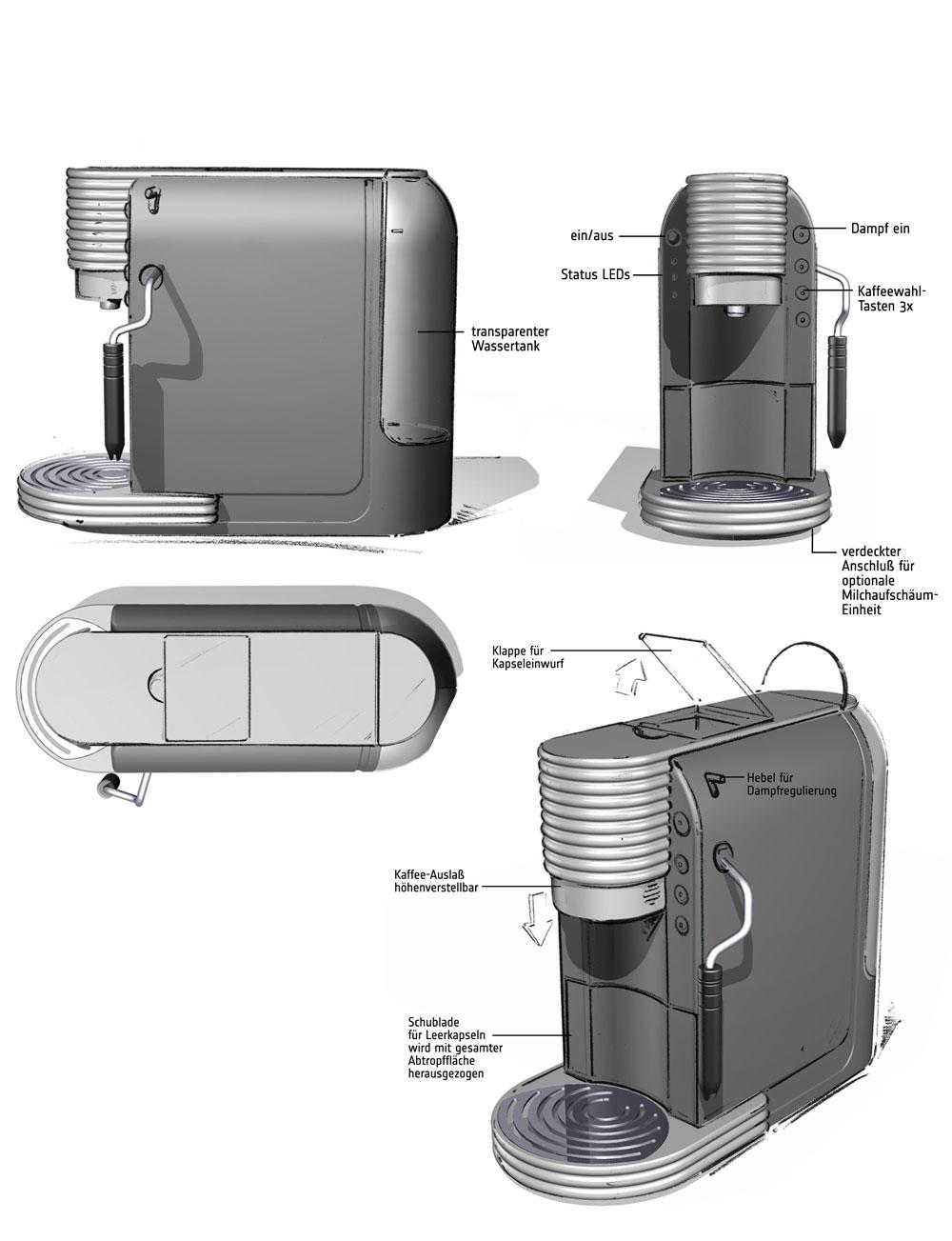 Designstudie SEVERIN Kaffeemaschine / Konzept 3