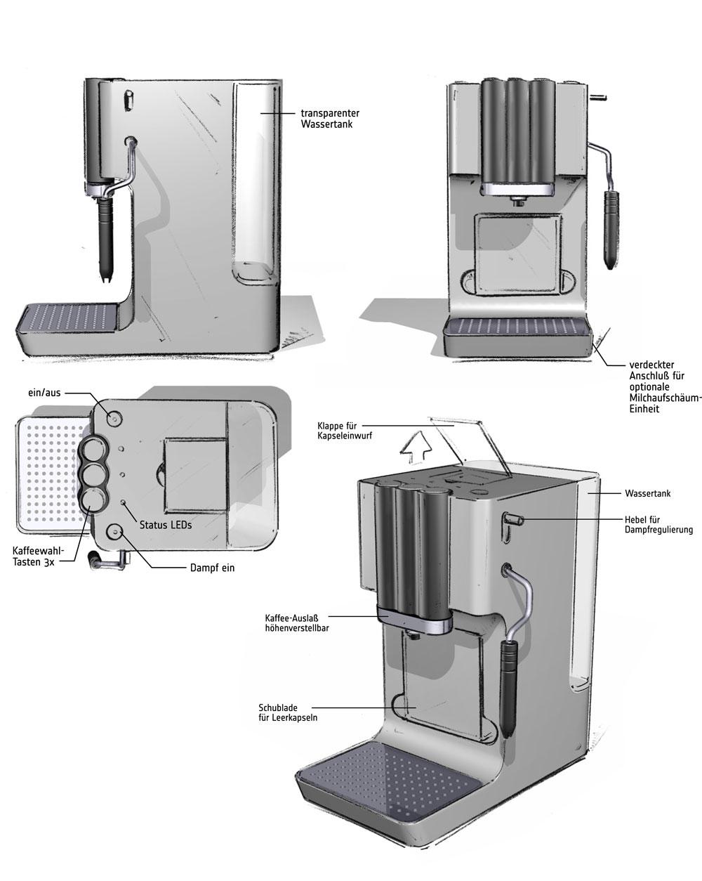 Designstudie SEVERIN Kaffeemaschine / Konzept 4