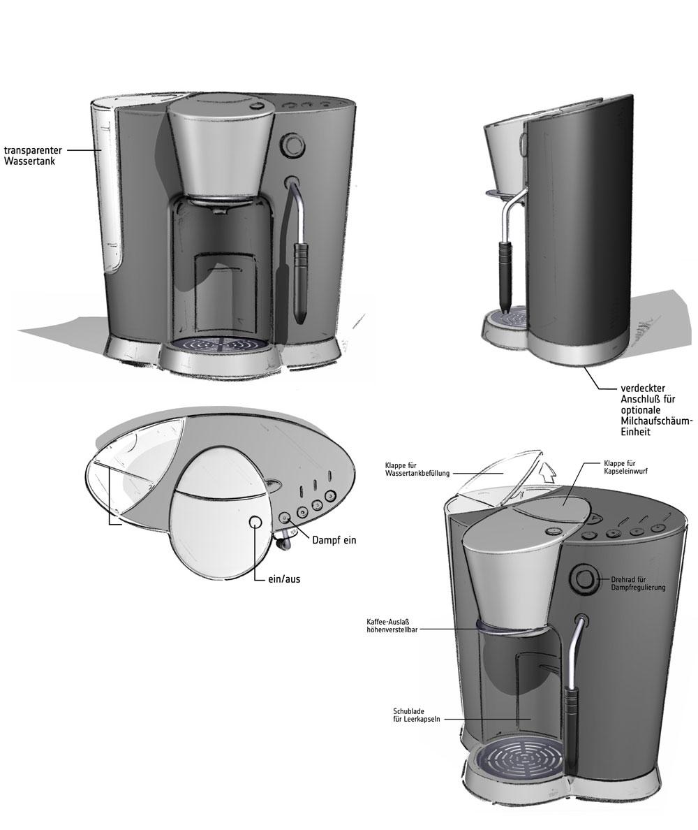 Designstudie SEVERIN Kaffeemaschine / Konzept 5