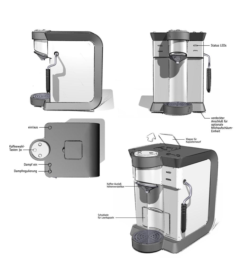 Designstudie SEVERIN Kaffeemaschine / Konzept 1